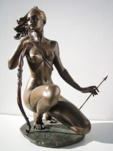Bronze statue sculpture Goddess Diana nude woman with bow and arrow