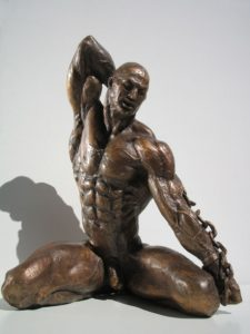 Bronze statues sculptures Boundary nude muscular man with chain