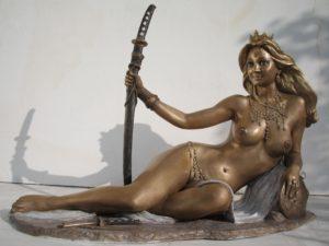 Bronze statues sculptures Goddess Patrizia nude woman with sword