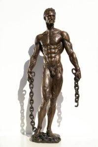 Bronze statues sculptures Towards New Spaces nude muscular man with two chains front.