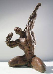 Bronze statues sculptures Towards New Spaces muscular man with chain