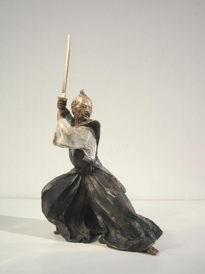 Aikido-Statue-Bronze-sculptures Bronze sculptures martial arts fighters warriors Samurai with sword
