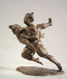 Aikido-Statue-Bronze-sculptures martial arts fighters warriors Sumo other side