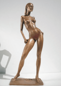 Bronze-statues-of-women-sculptures-artistic-female-nudes-Nonchalant-Girl-In-The-Sun-cm44x18x10-year-2001