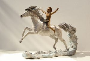 Sculptures-of-animals-horses-statuettes-in-bronze-code-175-Marco-Riding-The-Wind-A-Marcos-Dream-cm41x60x21-year-2008