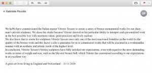 reviews-testimonials-opinions-evidence-customers-bronze-sculptures-statue-vittorio-tessaro-england