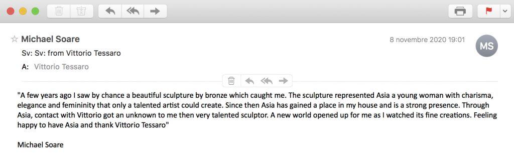 reviews-testimonials-opinions-evidence-customers-bronze-sculptures-statue-vittorio-tessaro-michael soare