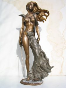 Sculptures-of-warriors-goddesses-amazons-in-battle-statuettes-code-162-After-The-Battle-cm78x34x22-anno-2006-1
